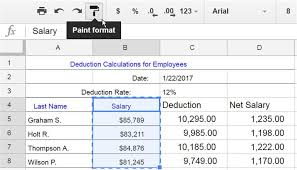 copy formatting in google spreadsheets with paint format