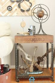 industrial diy furniture. DIY Industrial Side Table - Give The Look A Try With Wine Crate + Slotted Angles And Wheels. Diy Furniture