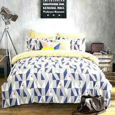 full image for blue and yellow toile duvet covers queen king size geometric bedding sets