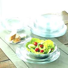 glass dish set dinnerware sets for 6 clear stoneware red