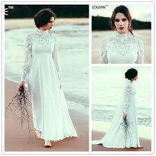 pregnant wedding dresses. Empire Waist Bohemian Maternity Wedding Dress High Neck Long Sleeves