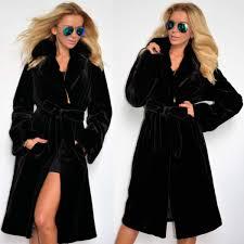 ซ อท ไหน winter women faux fur coat women winter warm thick wool coat jacket new fashion black long coat with belt ในประเทศไทย