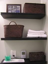 cozy and warm bathroom shelving idea