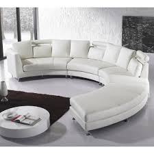 Overstock Living Room Sets Beliani Rotunde White Modern Design Round Leather Sectional By