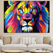 colorful animal wall art lion canvas lion painting animal oil painting pictures art print on the on home decorators wall art with colorful animal wall art lion canvas lion painting animal oil
