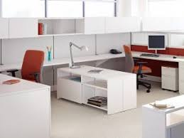 charming white office. Office Endearing Modern Decoration For With White Wooden Color Dividers Also Mounted Work Desks Charming R