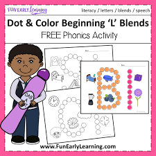 Check out our collection of printable phonics worksheets for kids. Dot And Color Beginning L Blends Beginning Phonics Free Activity