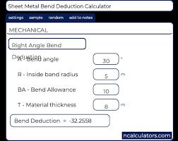 Sheet Metal Bend Deduction Chart Sheet Metal Bend Deduction Calculator