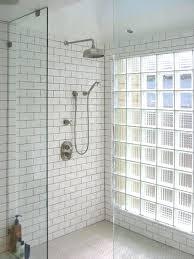 showers glass brick shower subway tiles industrial head bricks decor wall