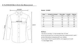Dress Shirt Size Chart Flatseven Mens Casual Button Down Shirt