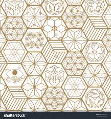 Japanese Pattern Custom Japanese Pattern Background Vector Gold Geometric Stock Vector
