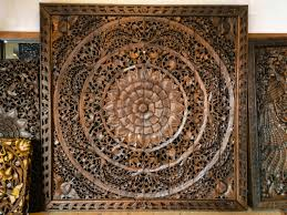 large carved wood panel teak wall hanging siamsawadee