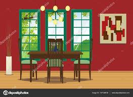 Esszimmer Interieur Mit Tisch Stuhl Hängende Lampe Und