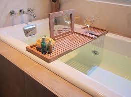 image of teak bathtub caddy tray