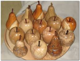 wooden apples and pears in various timbers