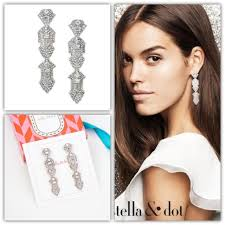 stella and dot casablanca crystal chandeliers earrings vintage art deco nib