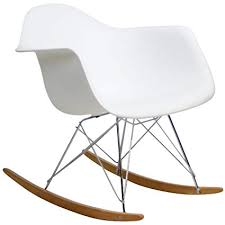 eames inspired rocking chair. Interesting Chair Modway EEI147WHI Rocker Molded Plastic Accent Lounge Chair White On Eames Inspired Rocking