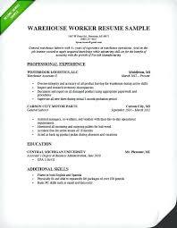 Warehouse Job Description For Resume Resume For A Warehouse Job Skinalluremedspa Com