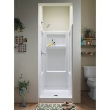 sterling advantage 32 in x 34 in white vikrell reg alcove shower kit