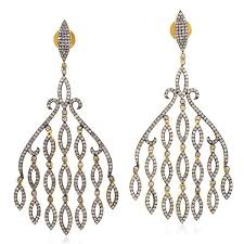 663ct pave diamond 18k gold sterling silver chandelier earrings jewelry gold and silver chandelier e50