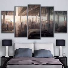 wall art canvas pictures hd printed home decor 5 pieces abstract futuristic cityscape painting frame inverted on mirror wall art 5 piece set with wall art canvas pictures hd printed home decor 5 pieces abstract