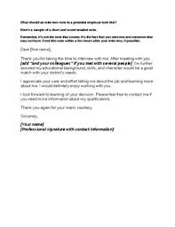 Job Interview Thank You Note Sample High School College Life Skills