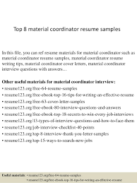Top 8 material coordinator resume samples In this file, you can ref resume  materials for ...