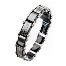 Stainless <b>Steel Black Plated</b> Blue <b>Plated</b> Link Bracelets for Men