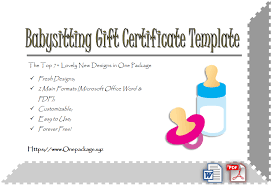 babysitting certificates free 7 babysitting gift certificate template ideas for