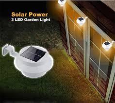 1 Pcs Solar Powered Fence Gutter 3 Led Light Outdoor Garden Yard Solar Powered Led Lights For Homes