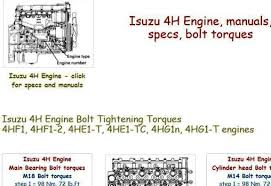 isuzu 4h engine specs bolt torques and manuals