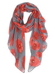 Designer Shawls And Wraps Lightweight Poppy Flower Print Oblong Shawl Scarf Grey