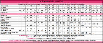 Bloch Shoe Size Chart Enchanted Dancewear