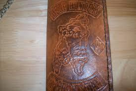 custom made custom leather biker wallet for solrs