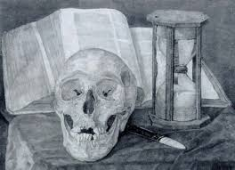 a vanitas still life with a skull an hourgl a book and a fan