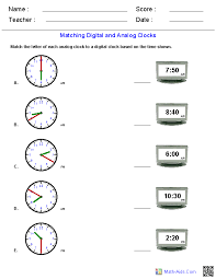 Matching Analog and Digital Clocks Worksheets | Math-Aids.Com ...