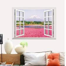 3d pink flowers full color wall sticker fake window scenery view wall decals home decor