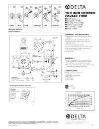 delta tub shower faucet trim specification sheet