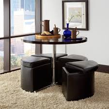 standard furniture cosmo adjustable height round wood top coffee table with 4 storage ottomans com