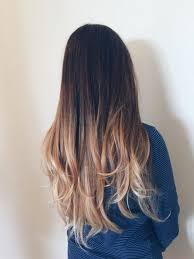 Hair Color Dark Brown Ombre Hair To Blonde Medium Length With