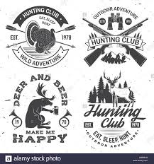 Label Print Design Set Of Hunting Club Badge Vector Concept For Shirt Or Label