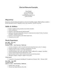 Clerical Resume Objectives Clerical Resume Sample Captureplusdms Com