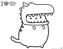 Pusheen The Cat Coloring Pages Kawaii Colouring Free Christmas Also
