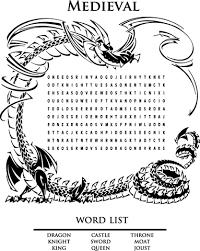 Middeleeuwse Woordzoeker Leer Engels Kleurplaat Gratis