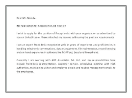 Receptionist Cover Letter With Experience Medical Rec Superb Medical