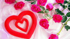 Pink-rose-with-heart-shapes - HD ...