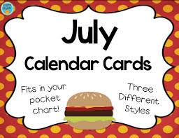 July Calendar Cards For Pocket Charts
