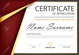 white certificate frame red gold elegance horizontal certificate with vector illustration