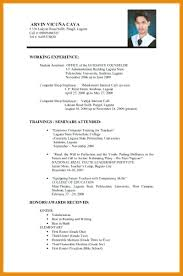 Sample Of Resume For Abroad Resume Format Resume For Job Application