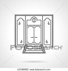 front door clipart black and white. Clipart - Store Front Door Flat Line Vector Icon. Fotosearch Search Clip Art, Black And White U